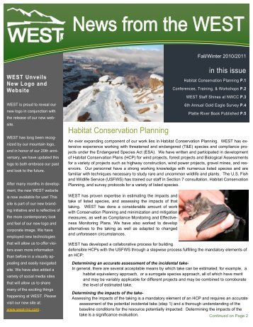 News from the WEST Fall-Winter 2010-2011-AH - WEST, Inc.