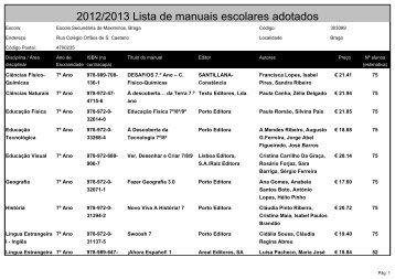 2012/2013 Lista de manuais escolares adotados - Agrupamento de ...