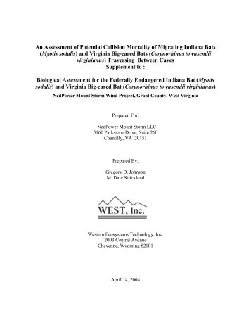 An Assessment of Potential Collision Mortality of ... - WEST, Inc.
