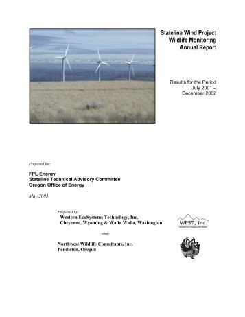Stateline Wind Project Wildlife Monitoring Annual Report - WEST, Inc.