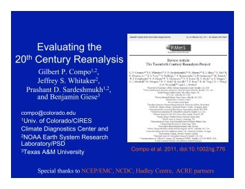 Evaluating the 20th Century Reanalysis - Climate Program Office