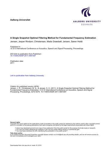 a single snapshot optimal filtering method for ... - IEEE Xplore