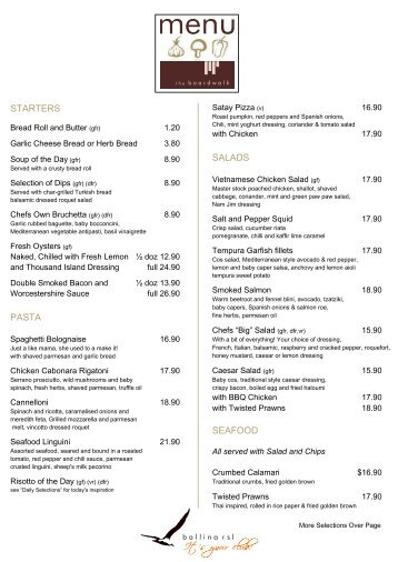 boardwalk menu - Ballina RSL Club