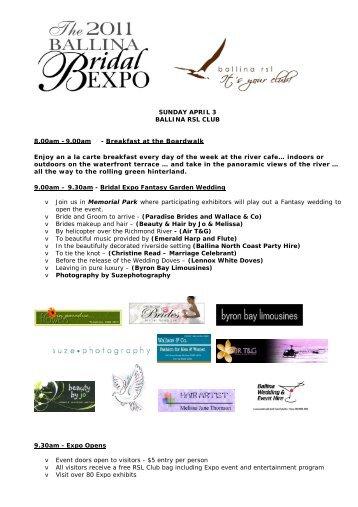 bridal expo program web ballina rsl club