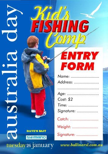 Australia Day Kids Fishing entry form - Ballina RSL Club