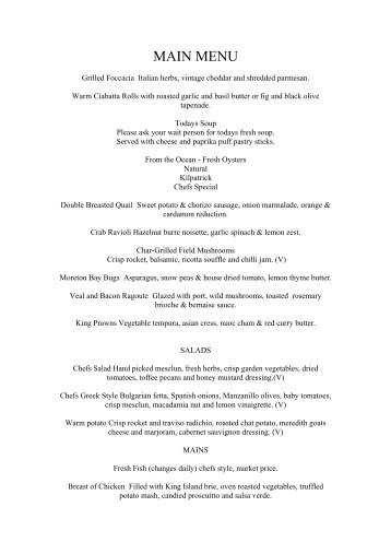 French Theme Menu - Ballina RSL Club