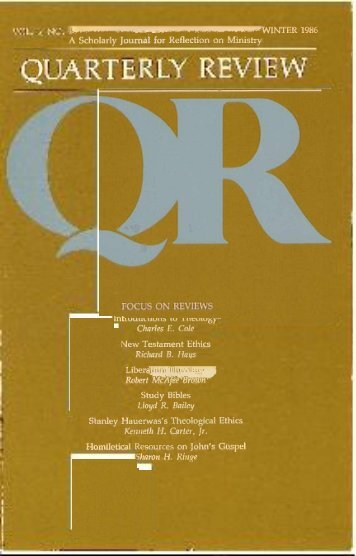 4 WINTER 1986 A Scholarly Journal for ... - Quarterly Review