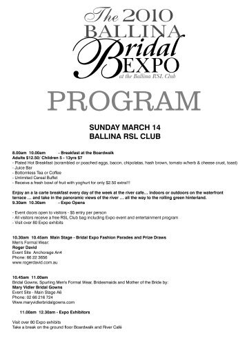 Bridal Expo Program Web - Ballina RSL Club