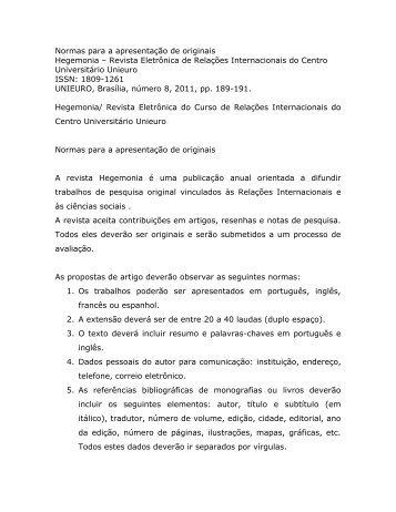 Normas para apresentação de artigos originais. - Unieuro