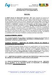 Pregão Eletrônico 14 2009 - Observatório Nacional