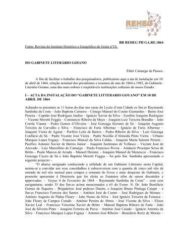 Fonte: Revista do Instituto Histórico e Geográfico de Goiás nº10