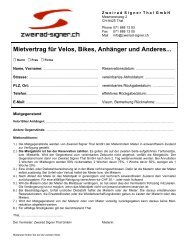Mietvertrag für Velos, Bikes, Anhänger und ... - Zweirad Signer Thal