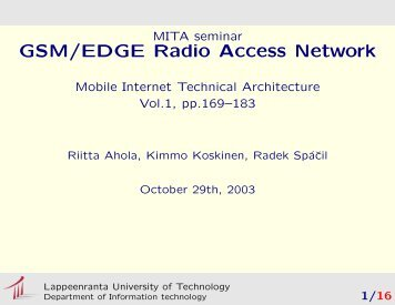 GSM/EDGE Radio Access Network - Department of Information ...
