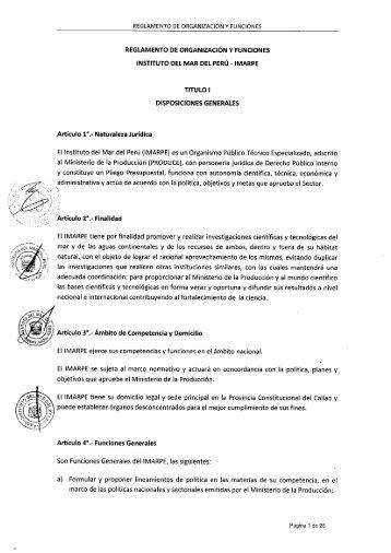 REGLAMENTO DE ORGANIZACIÓN Y FUNCIONES - Imarpe