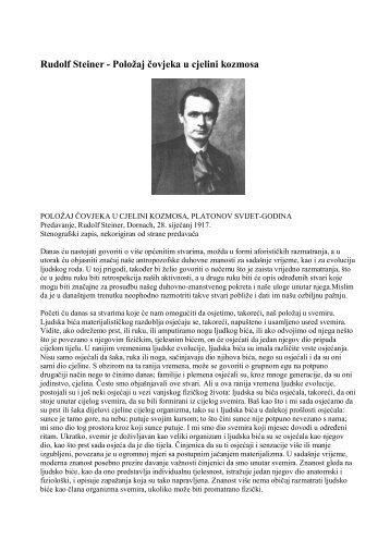 Rudolf Steiner - Položaj čovjeka u cjelini kozmosa - Antropozofija