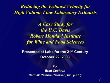 Reducing the Exhaust Velocity for High Volume Flow Laboratory ...