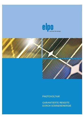 """ELPO_Photovoltaik """"Garantierte Rendite durch Sonnenenergie"""""""