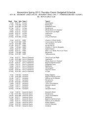 Recesstime Spring 2013 Thursday Classic Dodgeball Schedule