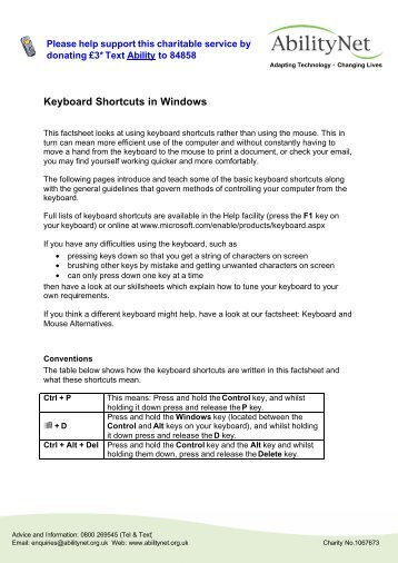 Keyboard Shortcuts in Windows ( PDF ) - AbilityNet