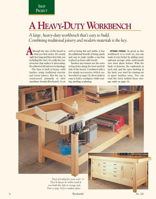 A Heavy Duty Workbench Woodsmith Woodworking Seminars