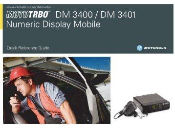 MOTOTRBO DM 3400/DM 3401 Numeric Display Mobile User Guide