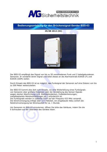 Bedienungsanleitung für den Brückensignal-Sender BSS-03