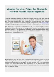 Vitamins For Men - Pointer For Picking the very best Vitamin Health Supplement