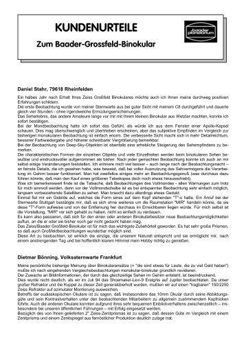 KUNDENURTEILE - Baader-Planetarium GmbH