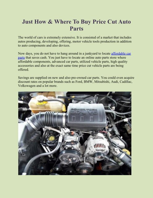 Just How Where To Buy Price Cut Auto Parts