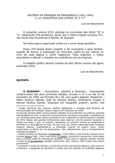 30958171547 História da Imprensa de Pernambuco - Fundação Joaquim Nabuco
