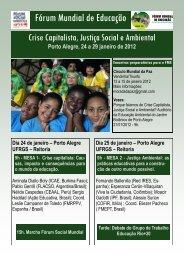 """Fórum Mundial de Educação - FME """"Crise Capitalista, Justiça Social ..."""