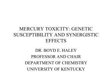 mercury toxicity: genetic susceptibility and synergistic effects - CoMeD