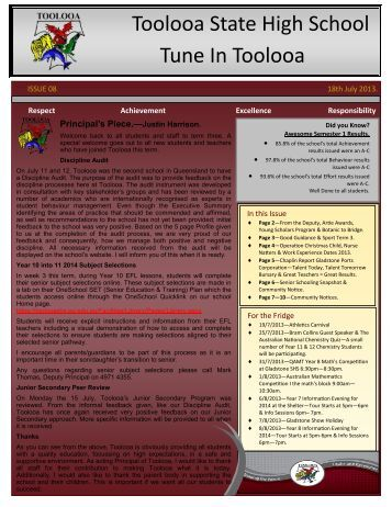 Newsletter 8 - 18th July 2013 - Toolooa State High School