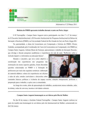Boletim Informativo - Março/2011 - Instituto Federal Farroupilha