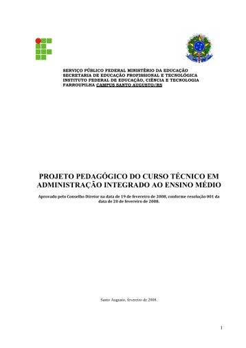 Projeto Pedagógico do Curso Técnico em Administração Integrado ...