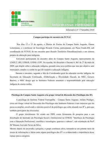 Boletim Informativo - Setembro/2010 - Instituto Federal Farroupilha