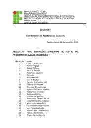 Edital 37/2011 - Aprovados no Programa de Auxílio Transporte