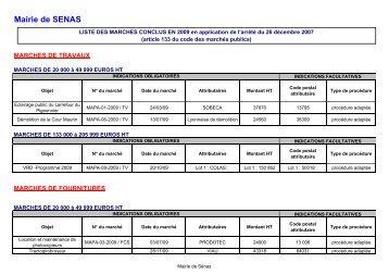 liste des marchés conclus en 2009 - Sénas