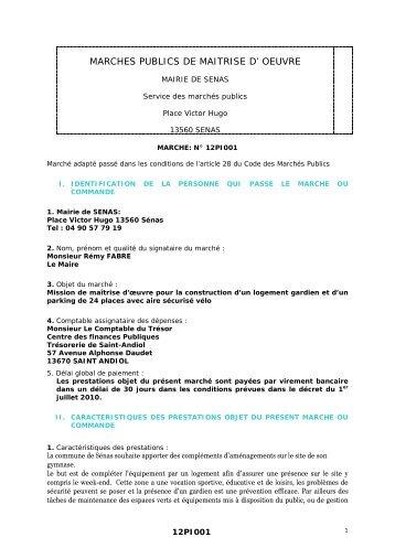 MARCHES PUBLICS DE MAITRISE D' OEUVRE - Sénas