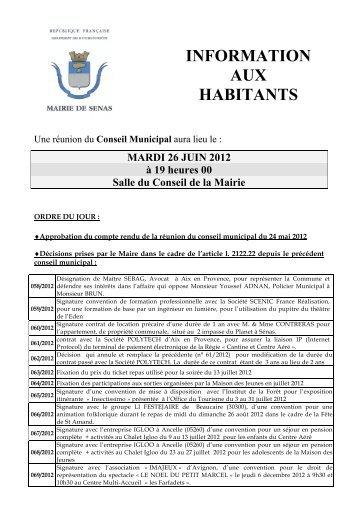 INFORMATION AUX HABITANTS - Sénas