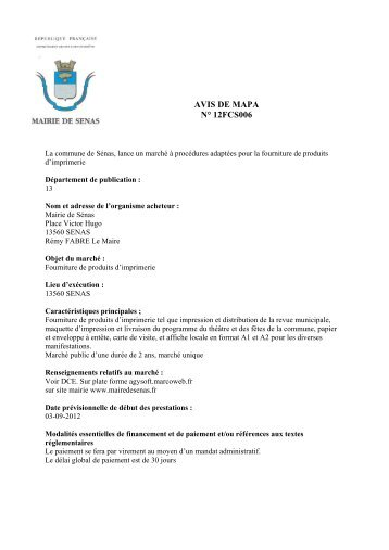 AVIS DE MAPA N° 12FCS006 - Sénas