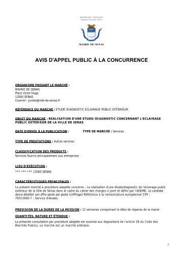 AVIS D'APPEL PUBLIC À LA CONCURRENCE - Sénas