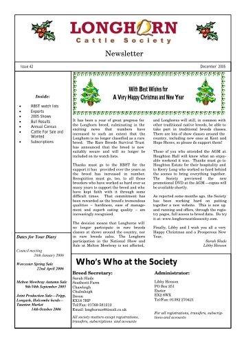Newsletter No. 42 - Longhorn Cattle Society