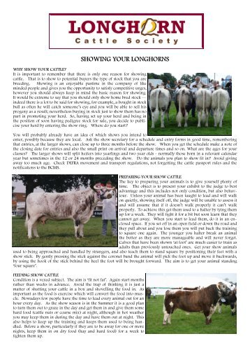 Showing Cattle - Longhorn Cattle Society
