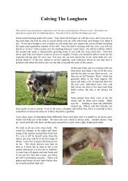 Calving the Longhorn (Read-Only) - Longhorn Cattle Society