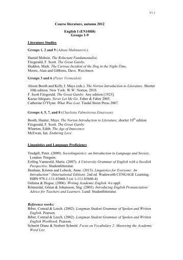 Course literature, autumn 2012 English I (EN10H8) Groups 1-9 ...