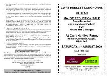 Longhorn Cwrt Henllys Sale.indd - Longhorn Cattle Society