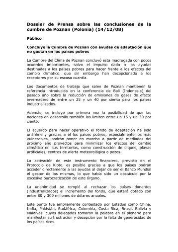 Dossier de Prensa sobre las conclusiones de la cumbre de Poznan ...