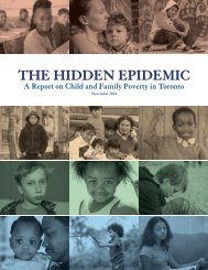 The Hidden Epidemic (A Report On Child & Family Poverty In Toronto)