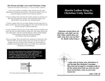 Martin Luther King Jr. Christian Unity Sunday - American Baptist ...